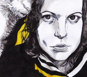 Inktober 2016, zelfportret, inkt