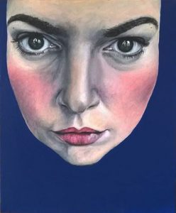 Zelfportret met de blauwe achtergrond, acrylverf