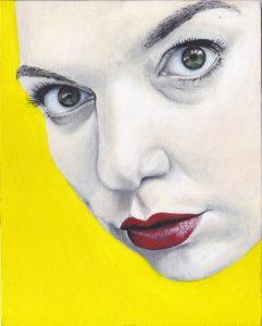 Zelfportret met gele achtergrond, acryl verf